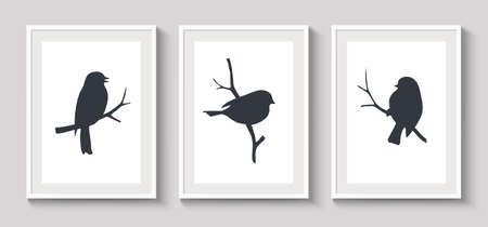 Set of white frames with shadow on gray wall for interior design. Collection of decorative bird silhouette on twig. Vector stock illustration. 向量圖像