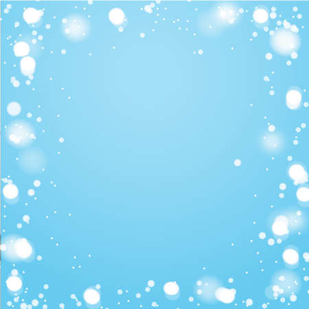 New Year and Christmas design template. Winter blue background with snowflakes and white lights. Vector illustration