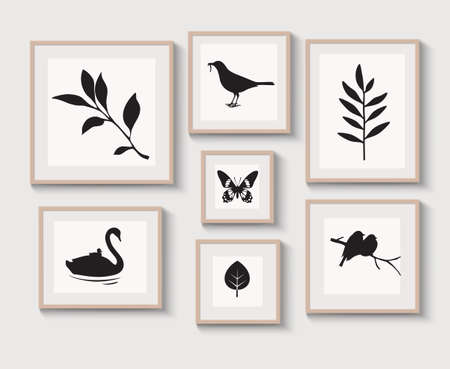Set of light braun wood frames with shadow on gray wall for interior design. Collection of decorative bird, stems, leaf, butterfly silhouette. Vector stock illustration. 版權商用圖片 - 163660108