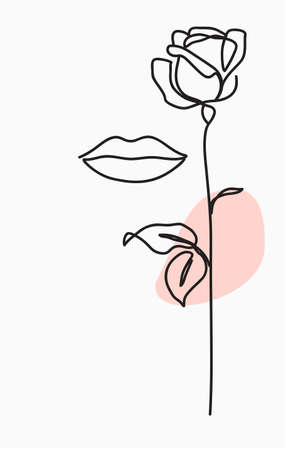 One line drawing. Abstract woman lips and garden rose with long stem and leaves. Hand drawn sketch. Vector minimalist stock illustration. 向量圖像