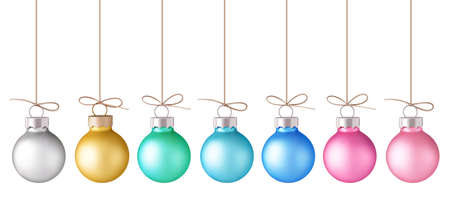 Set of decorative pastel color Christmas ball with rope isolated on white. New year decoration. Vector illustration