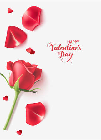 Valentines day design templates. Gray background with red rose, heart confetti and petals. Happy Valentines Day calligraphic lettering. Vector illustration 版權商用圖片 - 163492291