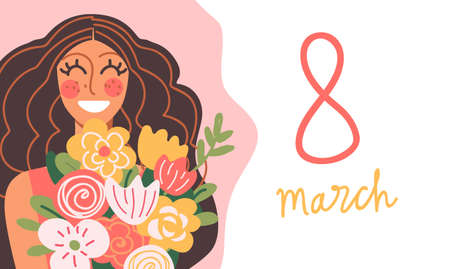 International Women's day greeting card design template. 8 March concept. Happy flat smiling woman with long hair and bouquet of flowers. Vector stock illustration. 向量圖像