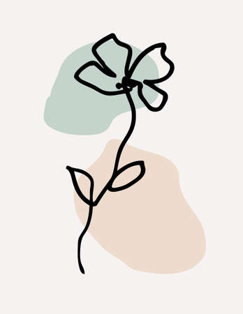 One line drawing. Beautiful field flower with leaves. Hand drawn sketch. Vector illustration. 版權商用圖片 - 163660113