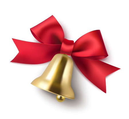 Decorative red bow and golden bell isolated on white background. Christmas and New Year decoration. Vector illustration.