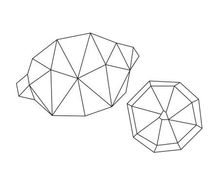 Low poly lemon fruit isolated on white. Decorative geometric triangle lemon. Icon for tattoo design. Vector stock illustration. 版權商用圖片 - 163660114