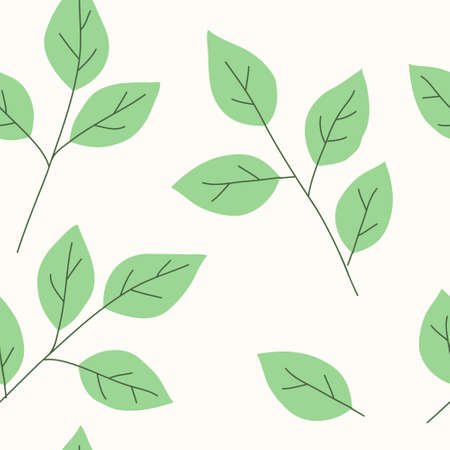 Seamless pattern with decorative green twigs and leaf silhouette. Vector stock illustration.
