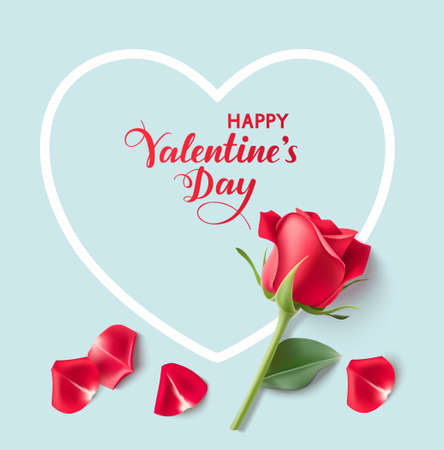 Valentines day design templates. Blue background with heart shape, red rose and petals. Happy Valentines Day calligraphic lettering. Vector illustration 版權商用圖片 - 163493744