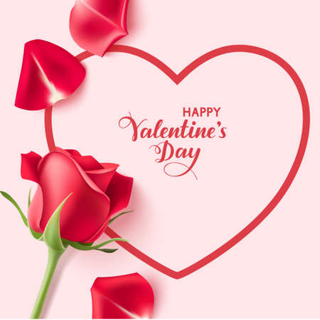 Valentines day design templates. Pink background with heart shape, red rose and petals. Happy Valentines Day calligraphic lettering. Vector illustration