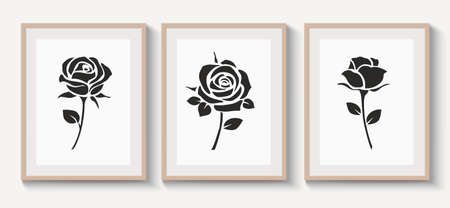 Set of  wood frames with shadow on gray wall for interior design. Collection of decorative rose with leaf silhouette. Vector stock illustration. 版權商用圖片 - 163660118