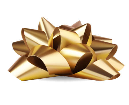 Decorative festive gold bow with realistic shadow isolated on white. Christmas and New Year decoration. Vector stock illustration.