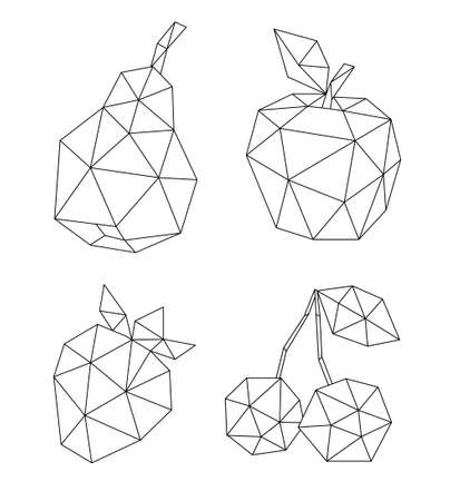 Low poly fruit set isolated on white. Decorative geometric triangle apple, cherry, pear and strawberry. Icon collection for tattoo design. Vector stock illustration. 向量圖像