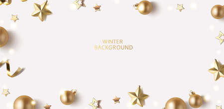 New Year and Christmas design template. Winter background with decorative golden balls and stars. Vector stock illustration