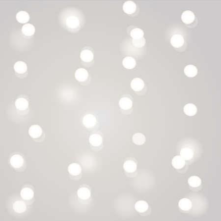 Blurred Christmas garland white lights on gray background. New Year decoration. Vector illustration. 向量圖像