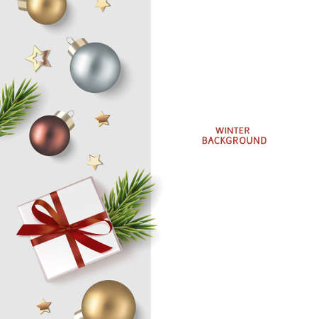New Year and Christmas greeting card design template. Xmas gray background with fir twig, brown, golden and siver ball with gift box and gold star confetti. Flat lay. Vector stock illustration. 版權商用圖片 - 166044329