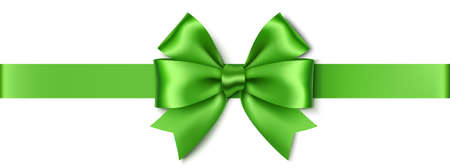 Decorative green double bow with realistic shadow and horizontal ribbon isolated on white background. Christmas or New Year decoration. Vector stock illustration.