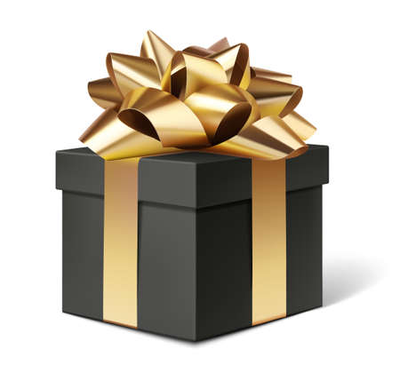 Decorative black gift box with golden bow isolated on white for black friday sale design. Vector illustration 版權商用圖片 - 166044334