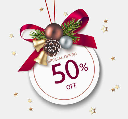 New Year winter and Christmas sale price tags design template. Decorative red bow with golden bell, Christmas ball, fir twigs, pine cone and price tag on gray background. Vector stock illustration