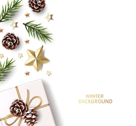 New Year and Christmas design template. Xmas background with decorative gold star, confetti, fir twig, pine cone and gift box isolated on white. Vector stock illustration.