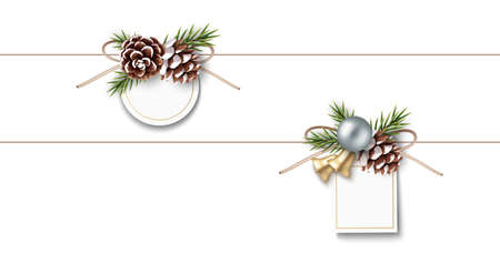 New Year winter and Christmas sale price tag design template. Set of decorative label with fir twigs, pine cone and silver ball, golden bell isolated on white background. Vector stock illustration. 版權商用圖片 - 166044339