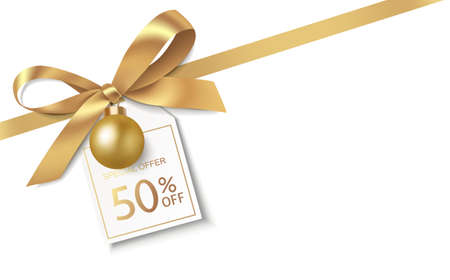 New Year winter and Christmas sale design template. Decorative gold bow with diagonal golden ribbon, Christmas ball and price tag isolated on white. Vector stock illustration.