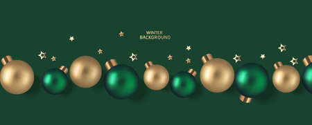 New Year and Christmas design template. Xmas green background with decorative golden and green ball. Flat lay. Top view. Vector stock illustration.