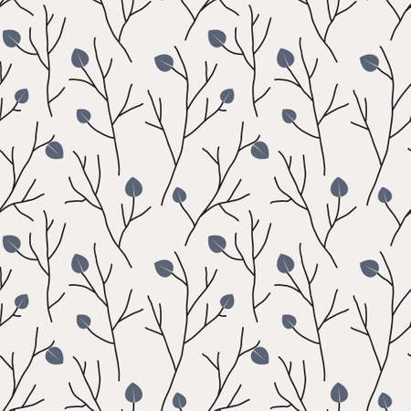Seamless pattern with leaves. Background with twigs of tree. Hand drawn line sketch. Vector illustration