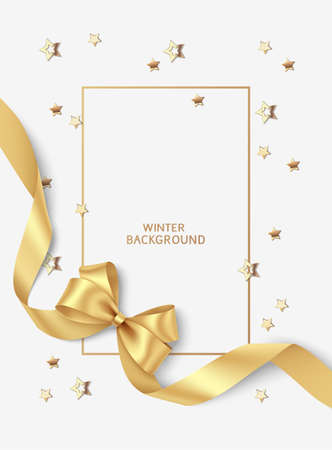 New Year and Christmas design template. Xmas gray background with decorative golden bow with long swirl ribbon and gold star confetti. Holiday frame. Vector stock illustration. 向量圖像