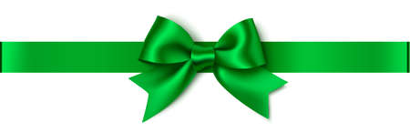 Decorative green bow with horizontal ribbon isolated on white background. Christmas or New Year decoration. Vector stock illustration. 向量圖像