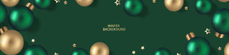 New Year and Christmas design template. Xmas green background with decorative golden and green ball. Flat lay. Top view. Vector stock illustration. 版權商用圖片 - 166008501