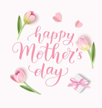 Happy Mother's Day greeting text with tulips and gift box. Vector illustration 版權商用圖片 - 166044352