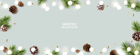 New Year and Christmas design template. Xmas background with pine cone, fir twig, decorative star and white light. Vector stock illustration.