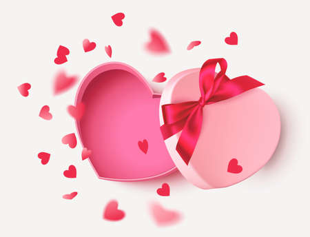 Decorative pink empty gift box with red bow and flying heart confetti isolated on white background. Valentines day design template. Vector stock illustration. 版權商用圖片 - 166008502
