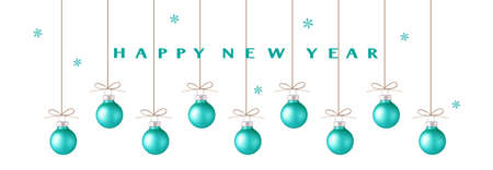Decorative blue Christmas balls with rope and happy New Year text isolated on white background with snowflakes. New year decoration. Vector illustration 版權商用圖片 - 166008503