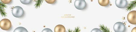 New Year and Christmas design template. Xmas white background with decorative golden, silver ball and golden star confetti with fir twig. Flat lay. Top view. Vector stock illustration. 向量圖像