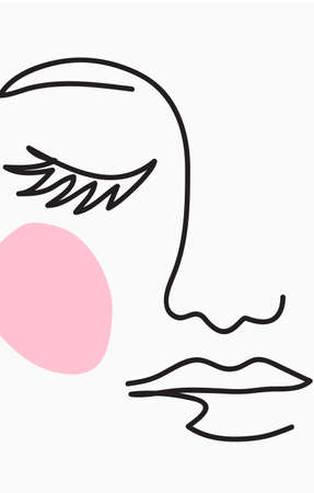 One line drawing. Abstract beautiful girl with pink makeup. Female beauty icon. Hand drawn sketch. Vector minimalist stock illustration. 向量圖像