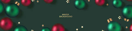 New Year and Christmas design template. Xmas green background with decorative red, green ball and golden star confetti. Flat lay. Top view. Vector stock illustration.