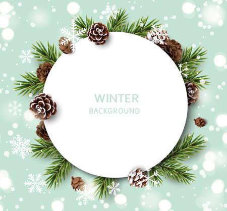 New Year and Christmas design template. Xmas background with decorative pine and fir cone, fir twig, white snowflakes. Vector stock illustration. 版權商用圖片 - 166008509