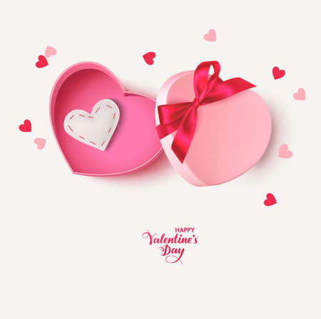 Decorative pink gift box with red bow, white felt heart and heart confetti isolated on white background. Valentines day design template. Vector stock illustration.