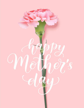 Happy Mothers Day greeting text. Decorative holiday card with vintage flower. Pink carnation with lettering. 版權商用圖片 - 166008520