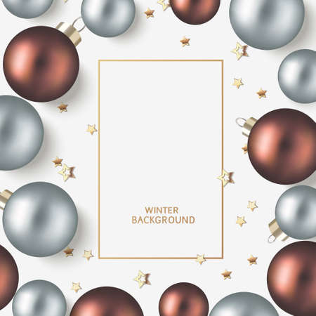 New Year and Christmas design template. Xmas gray background with decorative brown and silver blue ball and gold star confetti. Flat lay. Top view. Vector stock illustration.
