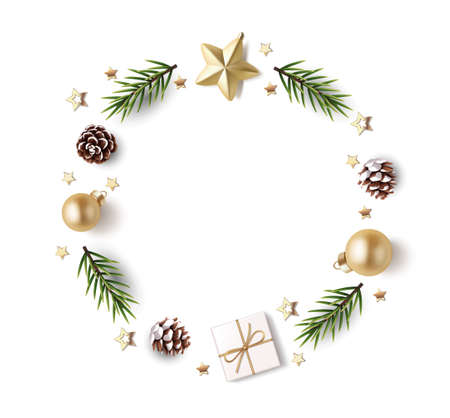 New Year and Christmas design template. Xmas background with decorative golden ball, gold star, fir twig, pine cone, confetti and gift box isolated on white. Vector stock illustration.