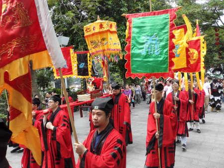 wei: April 21, 2015, Guangzhou March festivals, Ren Wei Pak Tai temple to greet the parade. Editorial