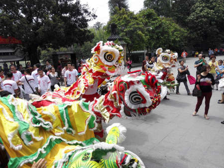 21: April 21, 2015, Guangzhou Liwan March sections, Ren Wei lion dance on the temple. Editorial