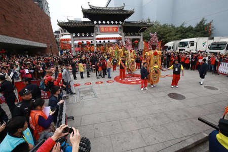 Atmosphere during the Chinese traditional festival at Guangzhou, China Editorial