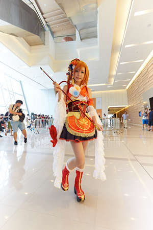 role play: Close up of model at 2015 DL Anime Carnival in Guangzhou, China Editorial