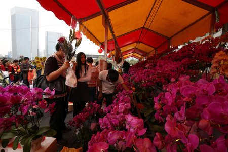 festiva: flower market at Guangzhou City Editorial