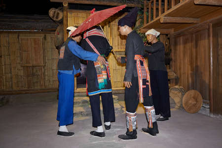 Reenactment of Chinese cultural ceremony in a museum