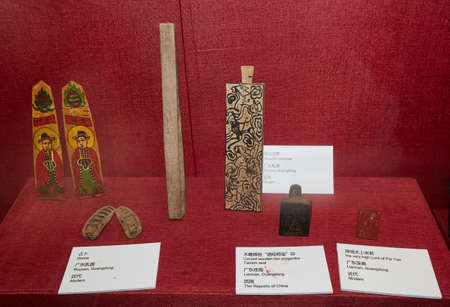 Traditional items on display in a museum