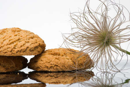 Oaten cookies and puff on reflective surface Stock Photo